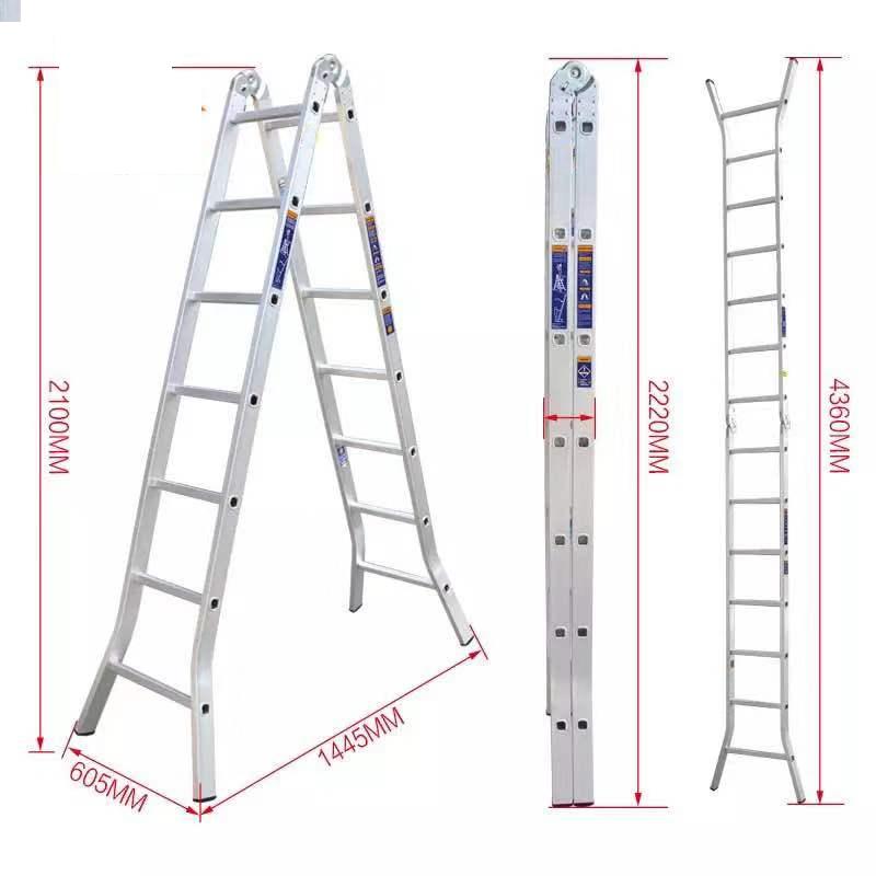 耐登 铝合金二关节折梯 LAF-245 直梯长度4500mm 折长2250mm 自重11.60kg