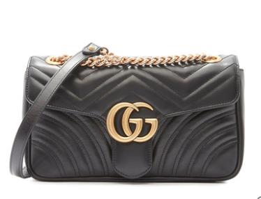 Gucci/古驰GGMarmont系列经典款红色牛皮绗缝女士单肩包斜挎包