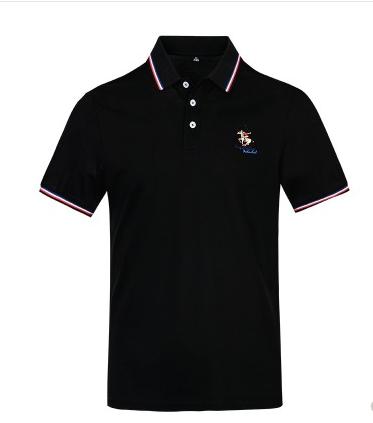 黑色短袖T恤男翻领纯棉保罗衫商务休闲有领上衣服夏季POLO衫