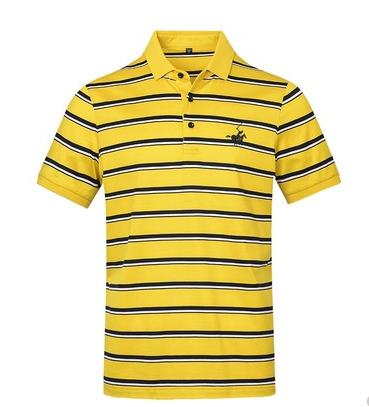 男黄色细条纹短袖T恤双丝光棉翻领保罗衫休闲衣服夏季POLO衫