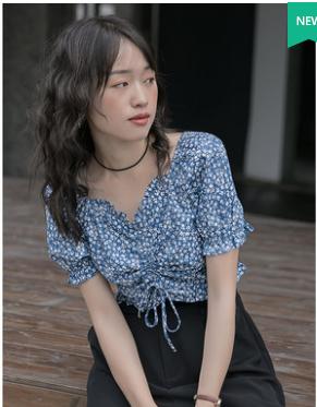 2020夏季碎花衬衣设计感小众短款高腰显瘦露脐短袖衬衫雪纺衫上衣
