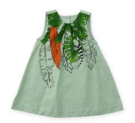 蒙蒙摩米女童绿色连衣裙纯棉小童宝宝2020夏款童装洋气儿童公主裙