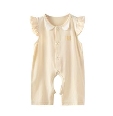 夏季婴儿衣服3-18月女宝宝飞袖开裆短连体衣莫代尔爬服哈衣