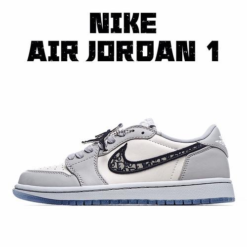 独家实拍✨原盒顶级 Dior x Air Jordan 1 Low AJ1 乔1迪奥联名白灰低帮 货号:CN8608-002 原盒 纯手工饰片涂边包浆效果