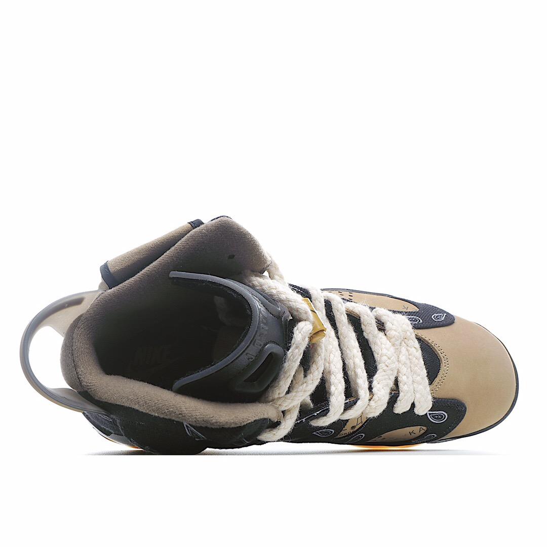 独家实拍✨纯原首发 采用丝光猪巴革鞋面材质#3D印花牛仔布料❗️斯科特Travis Scott x Air Jordan 6 TS联名腰果花黑白 AJ6乔丹6代