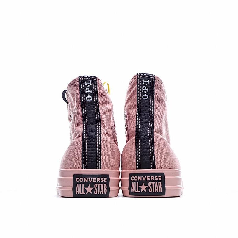 独家实拍✨Converse x OPI匡威款指甲油联名粉红色高邦帆布鞋 165729c 全粉鞋身加黑色鞋带 撞色完美 莆田鞋网介绍