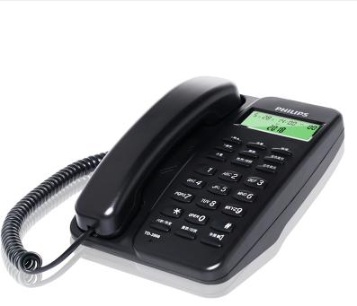 飞利浦(PHILIPS)TD-2808 有绳话机 /家用/办公话机/来电显示/免电池/固定电话座机 (黑色)