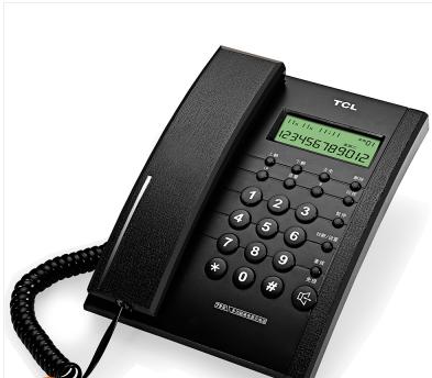 TCL HCD868(79) 79型 TSD固定有绳电话机座机来电显示免电池免提座式壁挂 普通家用/办公话机 黑色/灰白色