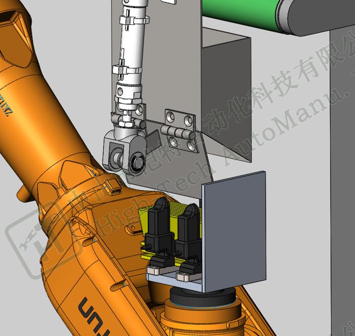 条状粉包机器人自动入孔项目