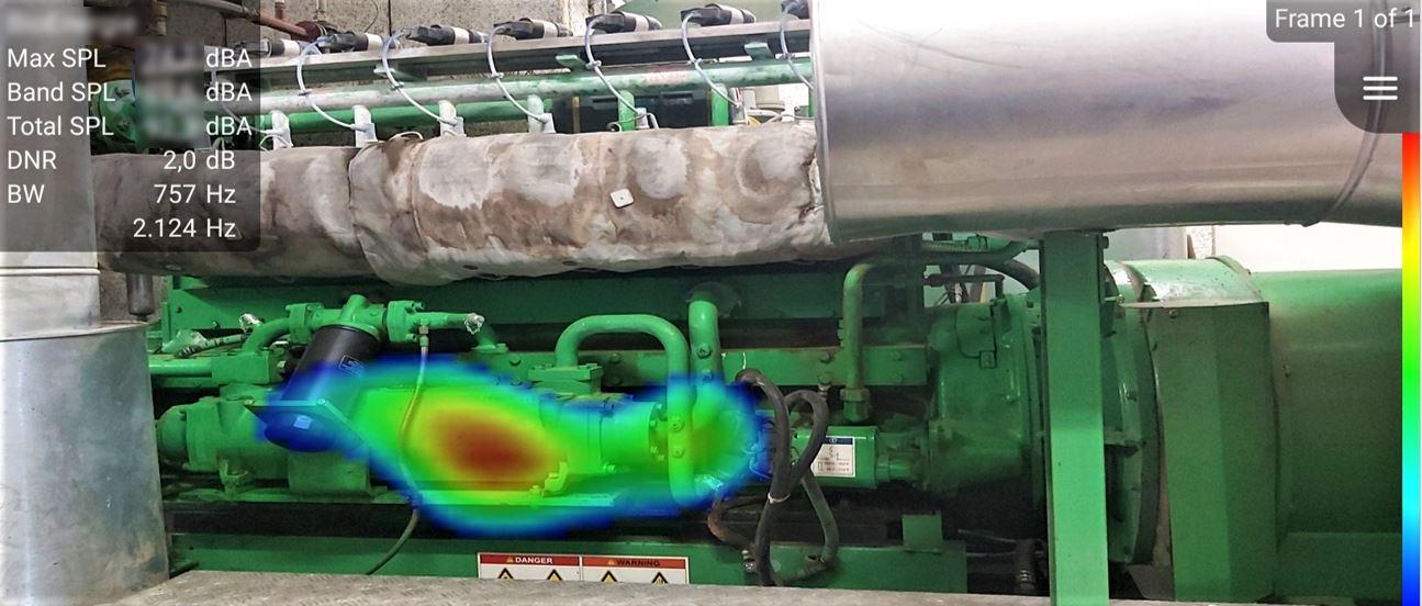干扰噪声辐射非常常见,通过噪声扫描仪的定位,为发现噪声缺陷和改进提供依据,如图为甲烷生产线的噪声定位。