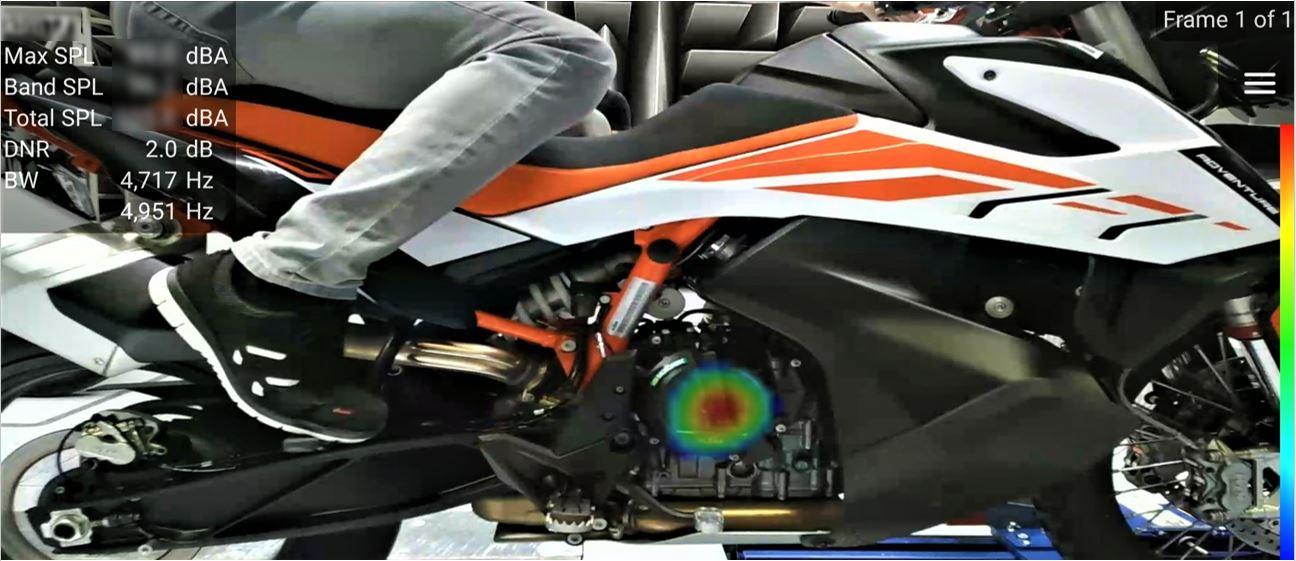 声学相机可以精准定位出发动机和齿轮噪声,相比仿真节省不少工夫。