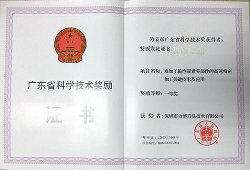 深圳市力博刀具技术有限公司,石墨刀具荣获一等奖