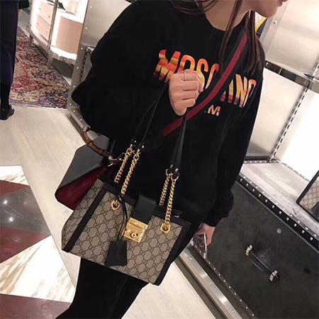 Gucci古奇女包经典Padlock锁扣拼色购物袋链条包单肩手提包