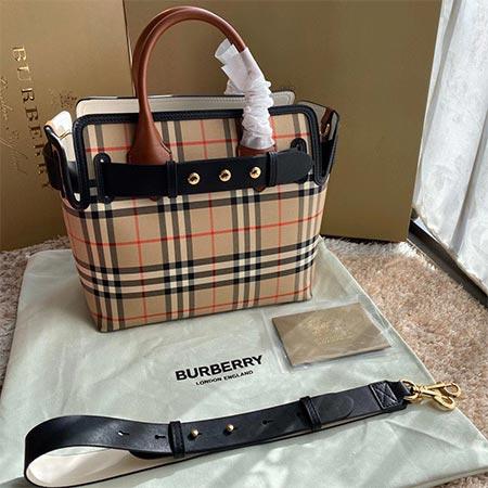 BURBERRY/巴宝莉战马格纹双面购物袋托特包单肩手提斜挎女包