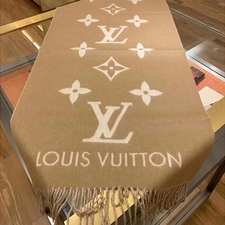 Louis Vuitton/路易威登2021新款LV 纯羊绒流苏女士休闲围巾