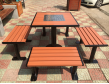 HF防腐木铸铁脚一桌四椅