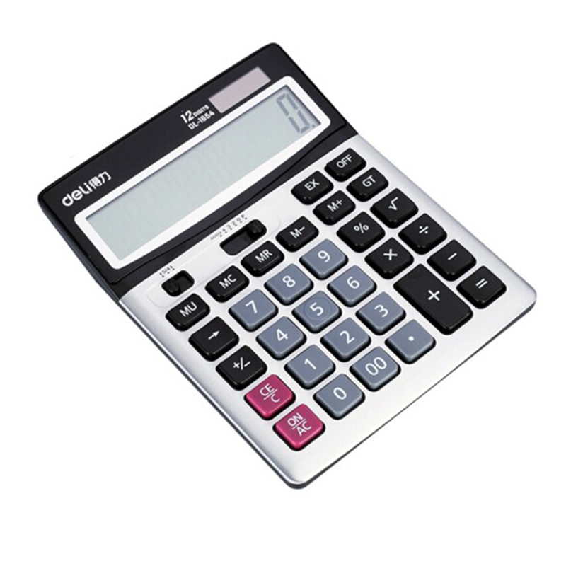得力(deli) 1654计算器 双电源宽屏办公桌面计算器