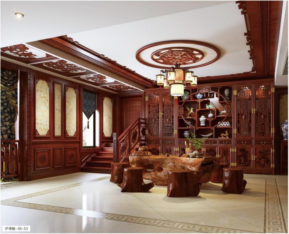 新中式风格案例-58-53/59-54  格兰伯爵新中式家具定制   中式护墙板  二十年专注家具定制