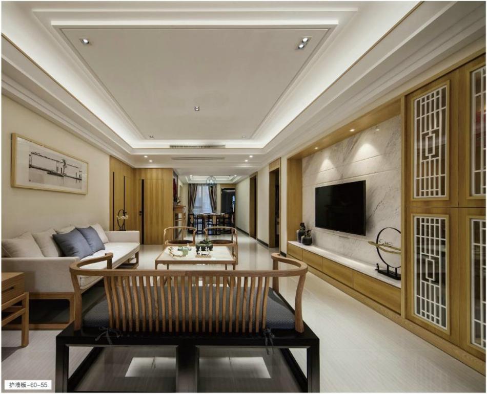 新中式风格案例-60-55/61-56/57   格兰伯爵高端整装全房定制家具 新中式风格护墙橱柜衣柜酒柜书柜
