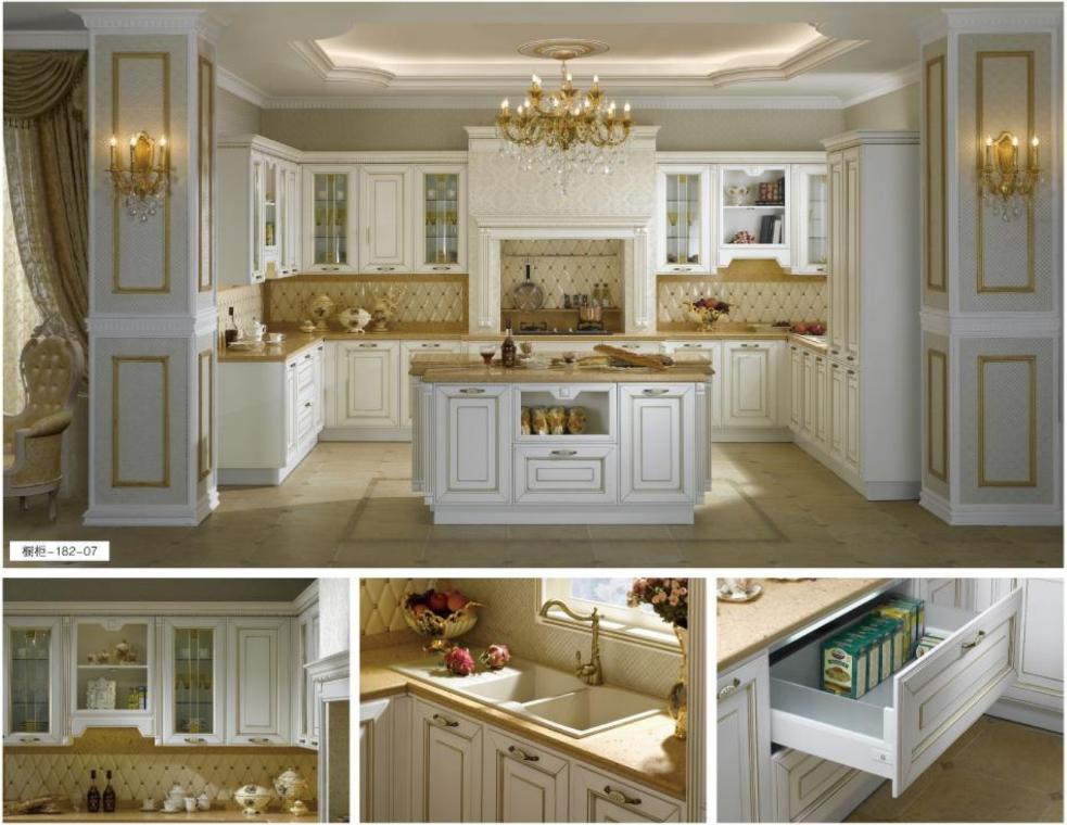 美国红橡实木欧式整体橱柜 定做开放式美式厨房装修厨柜 格兰伯爵全屋家具定制橱柜