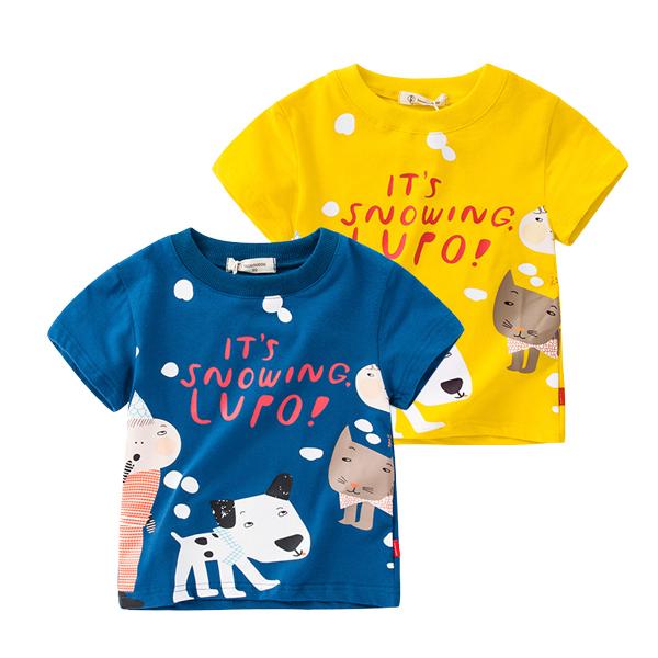 男童纯棉短袖休闲T恤夏季316543 E 洋气印花儿童上衣潮流童装