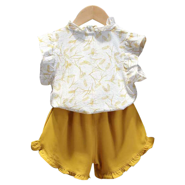 女童短袖套装夏款洋气宝宝小清新上衣短裤夏季女小童薄款彩条T恤