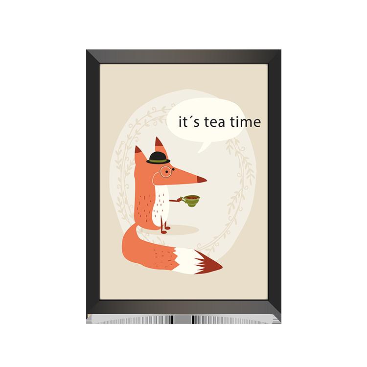 Cute fox drinking tea hanging