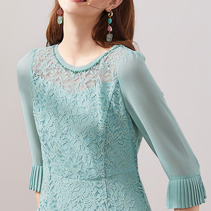 lace dress with flared sleeves