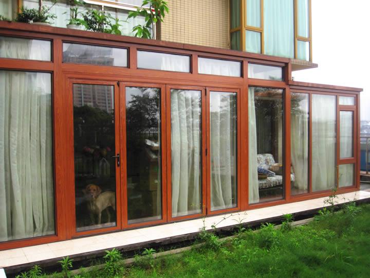 铝合金窗 断桥铝窗 木纹门窗
