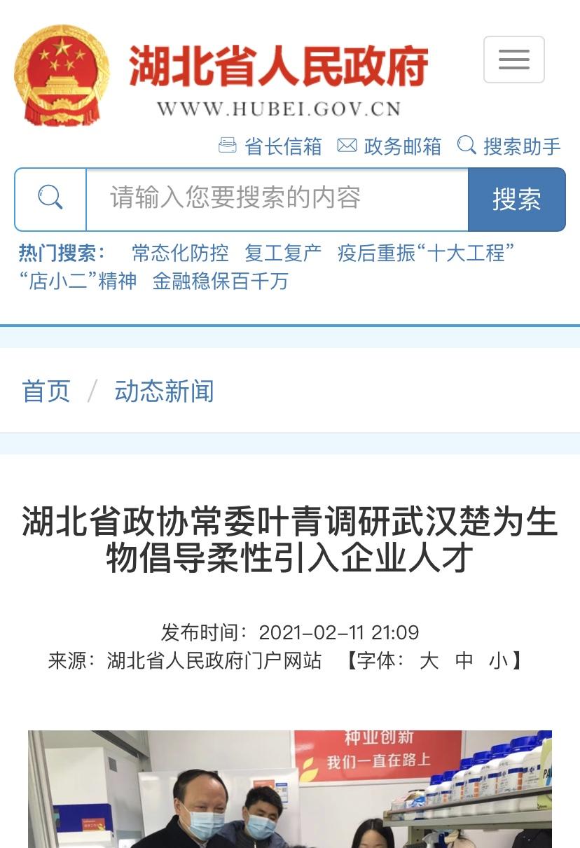 湖北省政协常委叶青调研武汉楚为生物倡导柔性引入企业人才