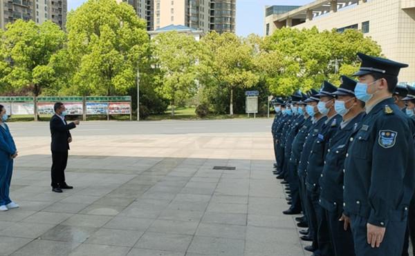 中保恒杰保安公司副总经理洪先明作训前动员