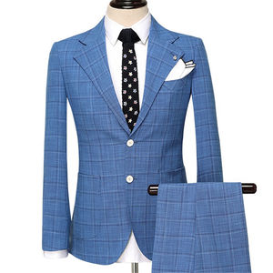 Blue Jacquard MenS Wedding Suit Tuxedo Suit