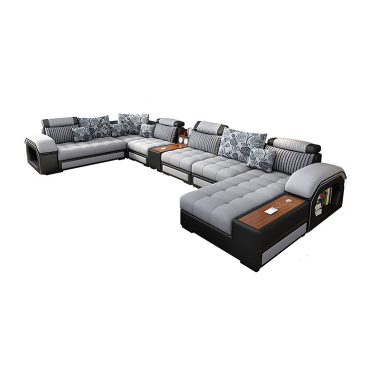 Comfortable U Shape Fabric Sectional Living Room Sofa Royal Sofa Set 7 Seater Living Room Furniture Designs