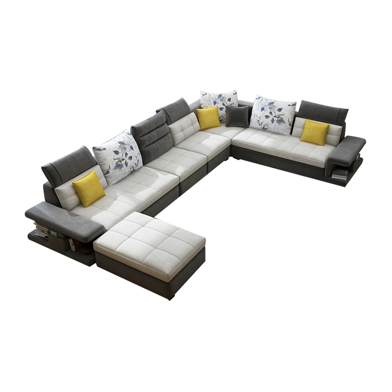 Home Living Room Furniture Modern U L Shaped Couch Fabric Sectional Corner 7 Seater Combination Sofa Set
