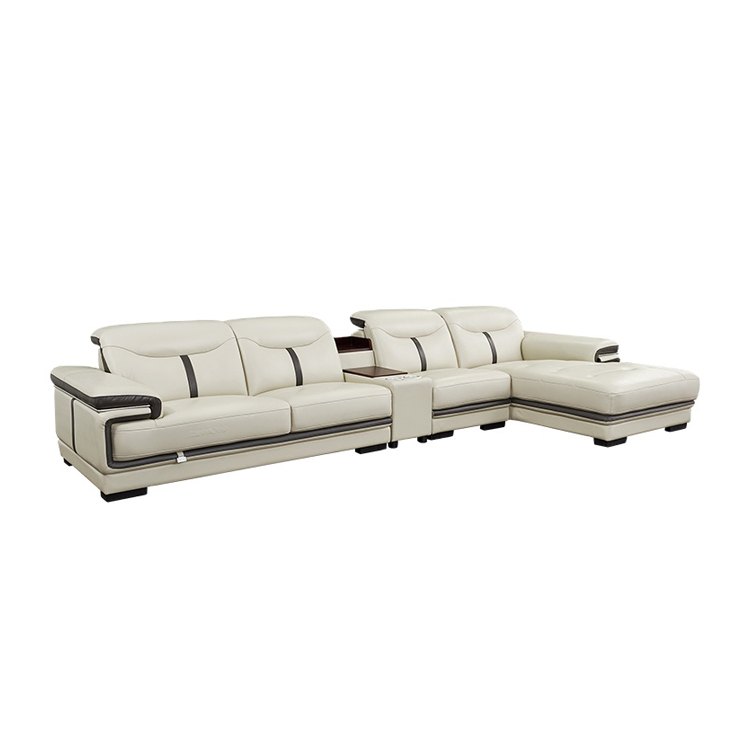 Living room furniture leather upholstery modern design light luxury reclining sectional sofa
