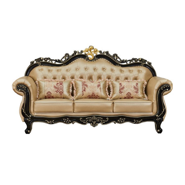 Antique royal style real leather living room sofa sets