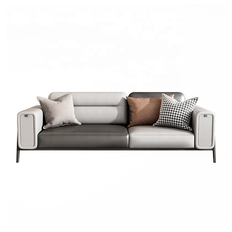 Modern Living Room Furniture Gray Leather Sofa Two Three Seats Sofa With Storage