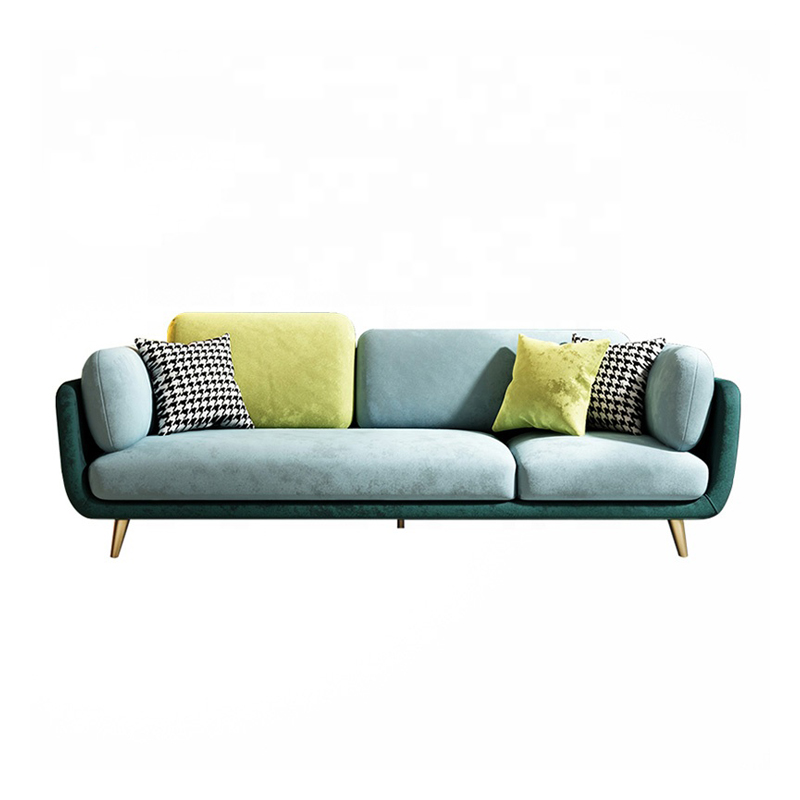 Modern Lounge Furniture Couch 3 Seaters Living Room Sofa With Golden Legs