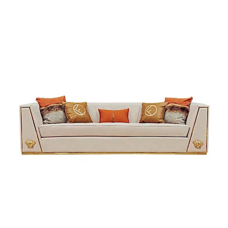 new model antique leisure 3 seat solid wood Italy design luxury sofa set