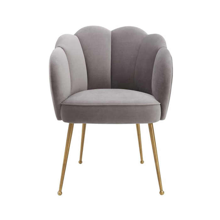 Contemporary grey velvet leisure fabric dinning room chair flower shape gold chrome leg dining chair