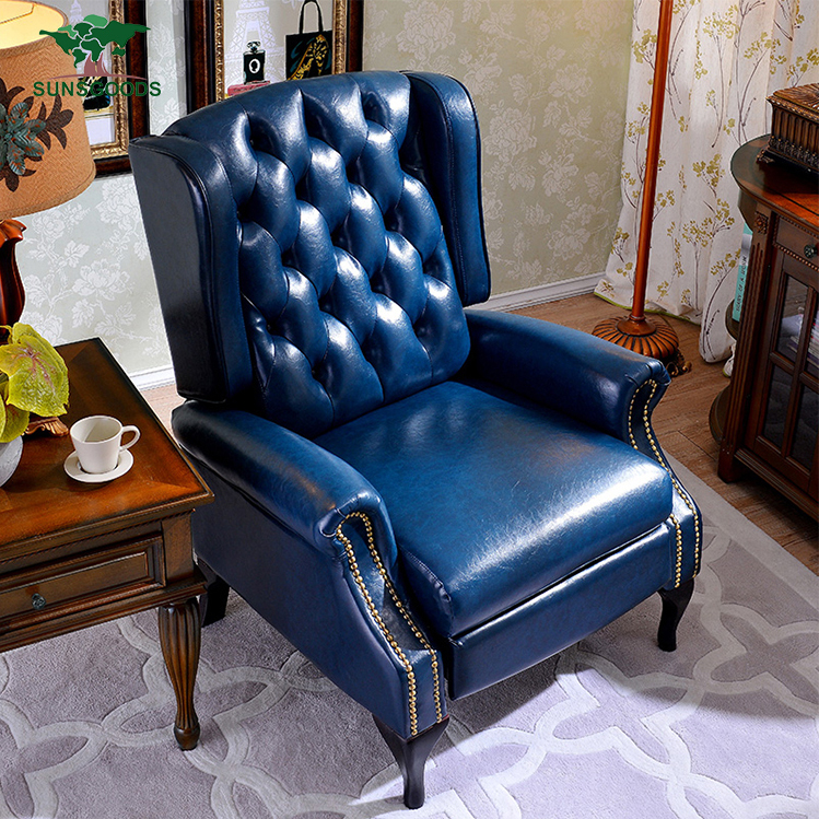 Chesterfield real leather recliner chair