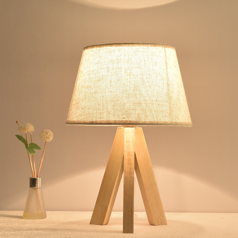 Nordic Simple Design Wooden Frame Fabric Lamp Nodic Style Desk Lamp