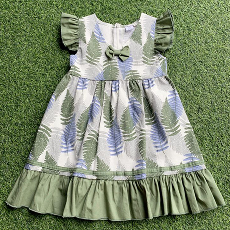 A green flounces and palm leaves floral kids smocking dress