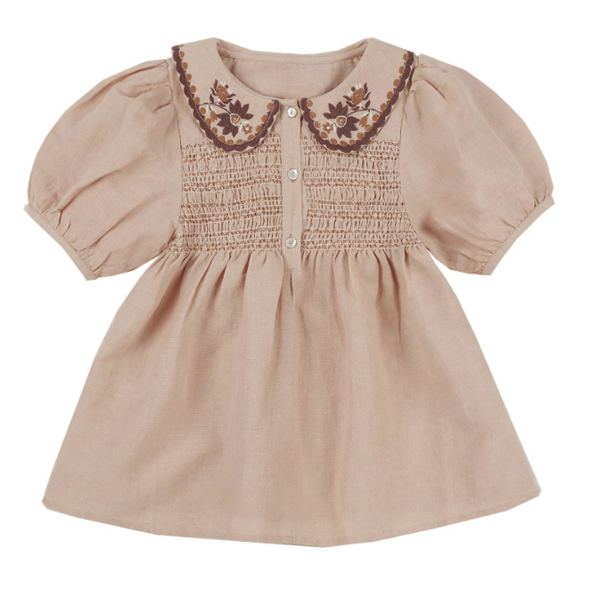 Khaki smocked  dress with the embroidered doll collar