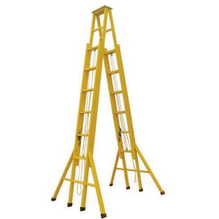 生产批发绝缘升降合梯 玻璃钢双升降伸缩人字梯 电力专用登高梯