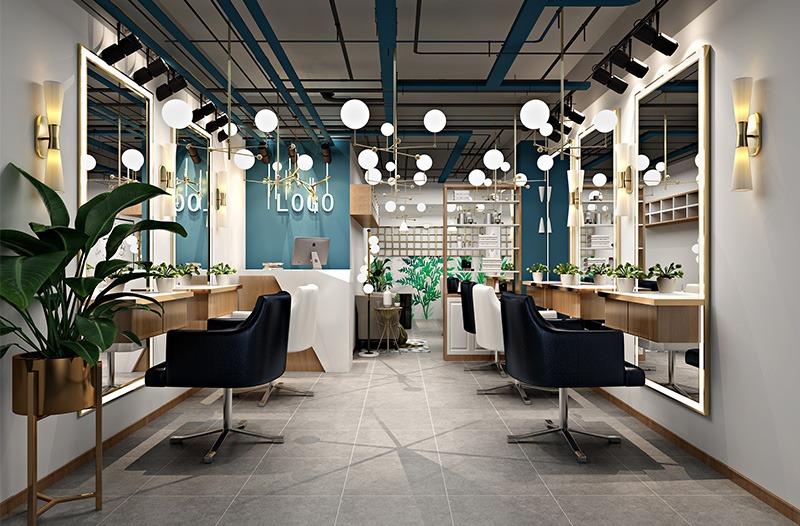 輕奢北歐風格理發店設計案例