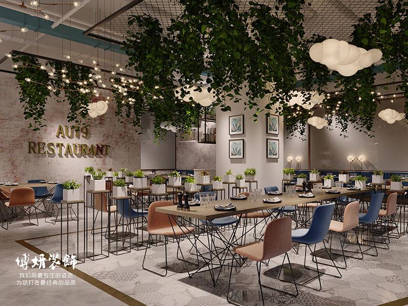 杭州主题餐厅装修设计-清新自然餐厅效果案例图