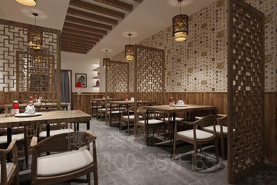 西湖区120平方石锅鱼店装修设计案例