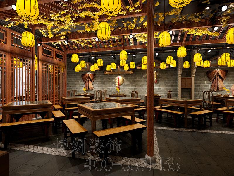 杭州中式餐厅装修-衢州风味土菜馆装修效果案例