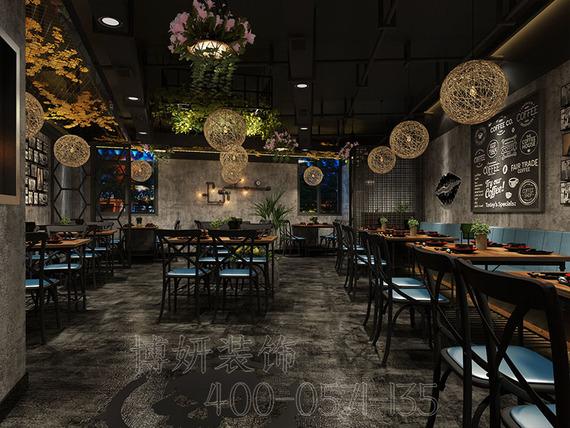杭州200平烤鱼店装修设计案例